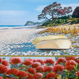 Summer Red Whiritoa – unframed $249 image size 350mm x 350mm