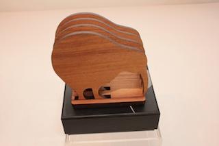 Ian Blackwell Rimu Classic Coasters Kiwis $47 - approx 90mm x 80mm each and base 90mm x 90mm.