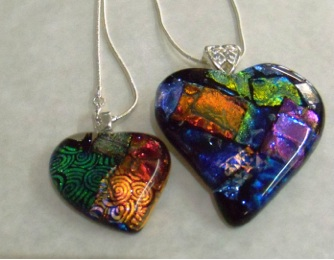 Dichroic Heart Pendants Large size approx 60mm Small size approx 35mm