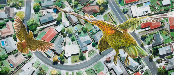 There is No Planet B Kaka over Rototuna Framed $525 Unframed $359 Framed size 830mm w x 480mm h