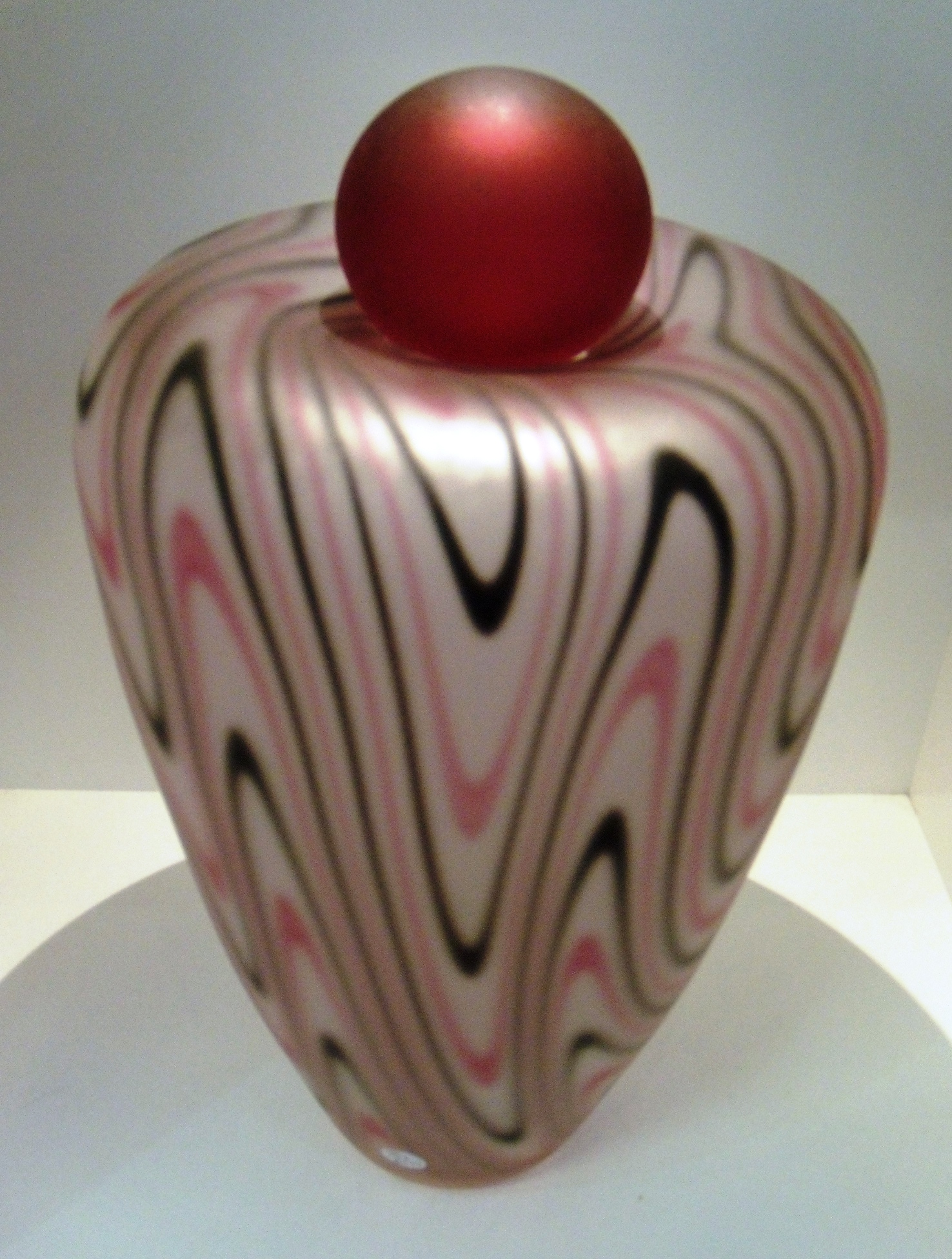 Ruby and Black Vase with Ruby ball $475 Frosted Measures 180mm w x 300mm h