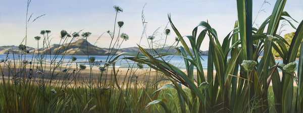 Flax and Wild Carrot Cooks Beach $415 Measures 850mm w x 430mm h