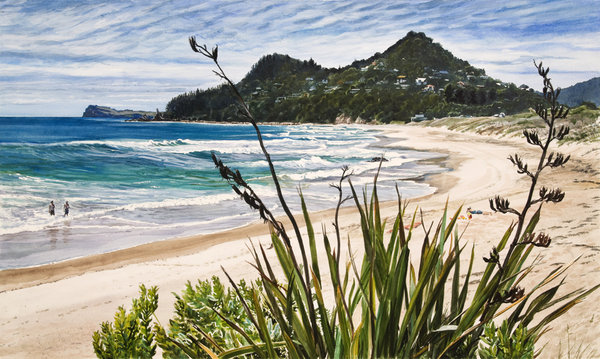 Ocean Beach Tairua Framed $559 Measures 790mm w x 580mm h. Unframed $359 Measures 670mm w x 435mm h