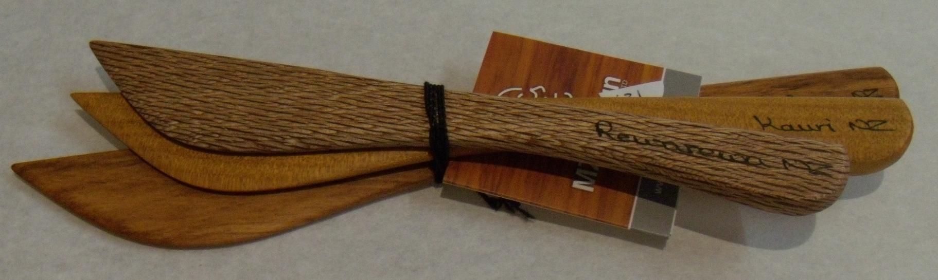 Knife Set $31 Native Rimu Kauri and Rewarewa