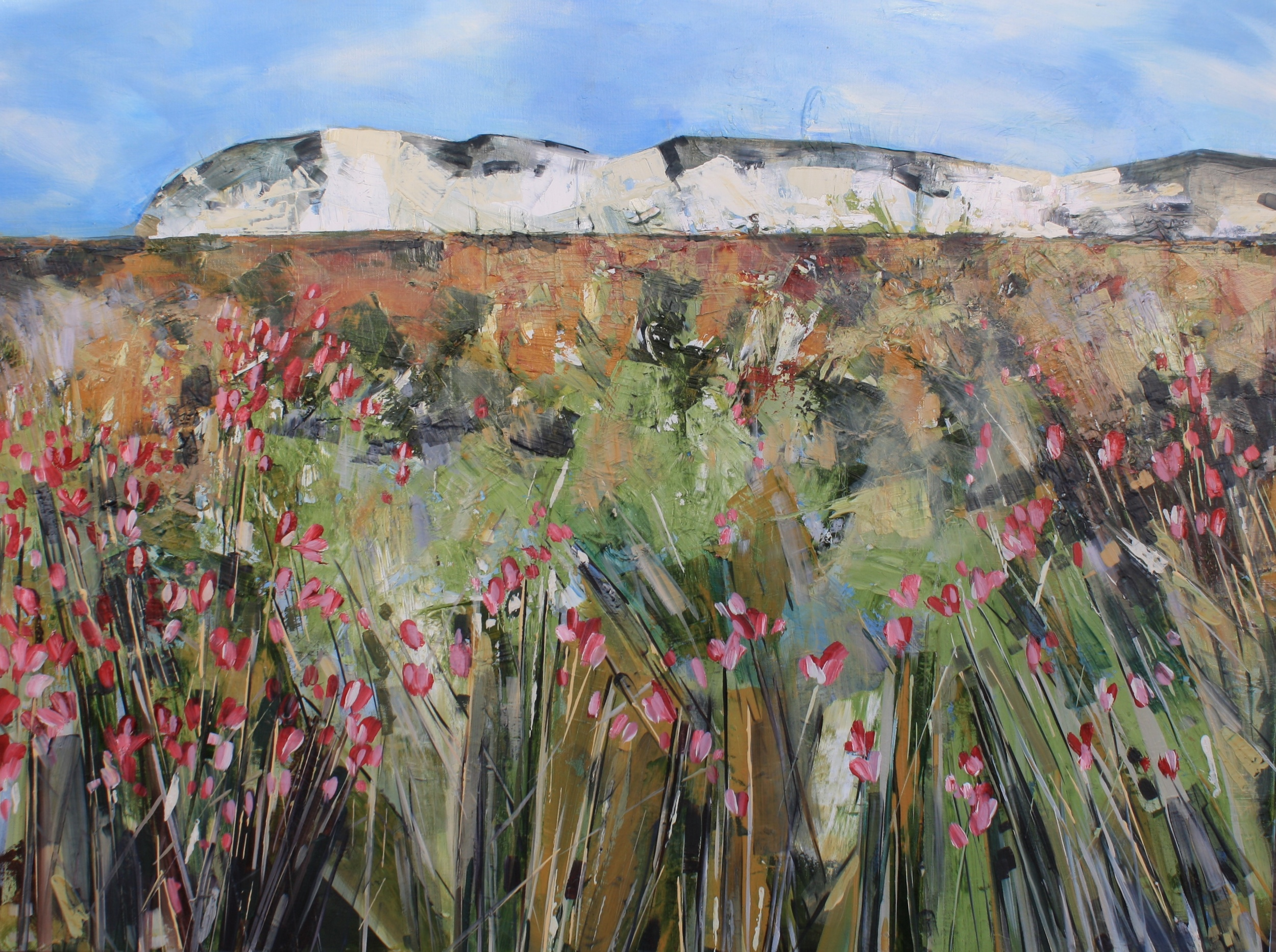 Field of Pink Flowers $2500 Measures 1020 mm w x 760 mm h