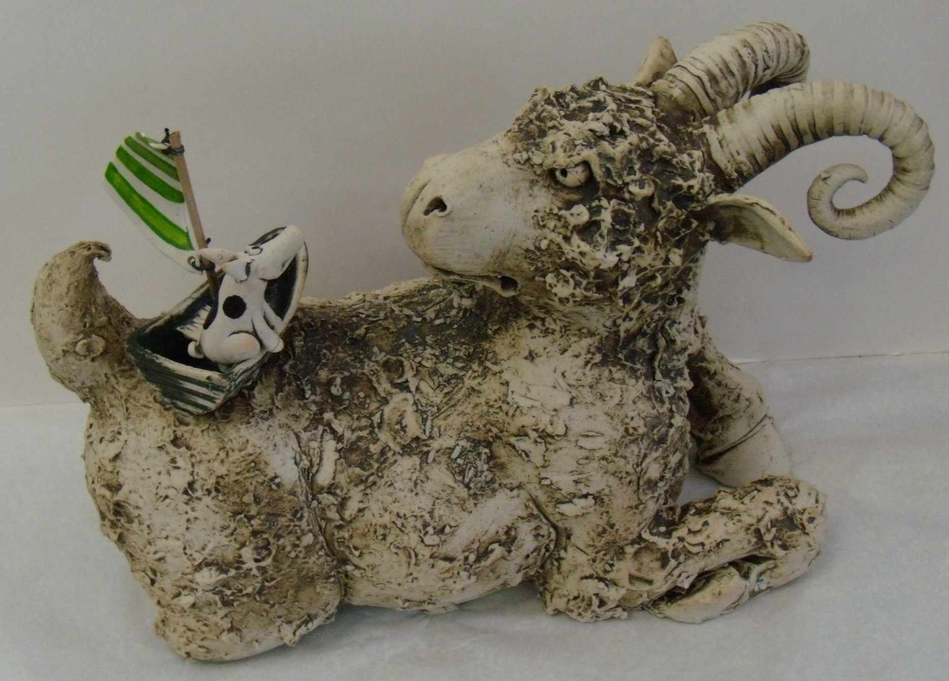 Goat with Boat $380 Measures approx 360 mm w x 240 mm h