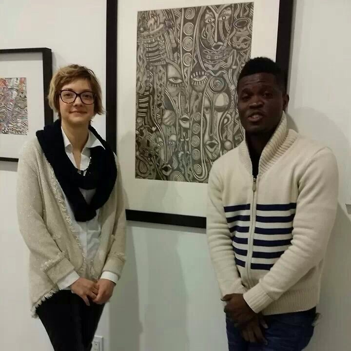 Laolu and Hilary R. Whitham, Director of Amos Eno Gallery, Brooklyn and curator of PAST/FORWARD.