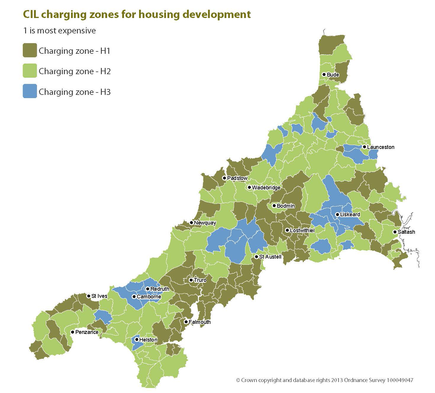 Cornwall Map showing Levy per Parish.   Extract taken from The Community Infrastructure Levy Preliminary Draft - Cornwall Council P.5 02/13