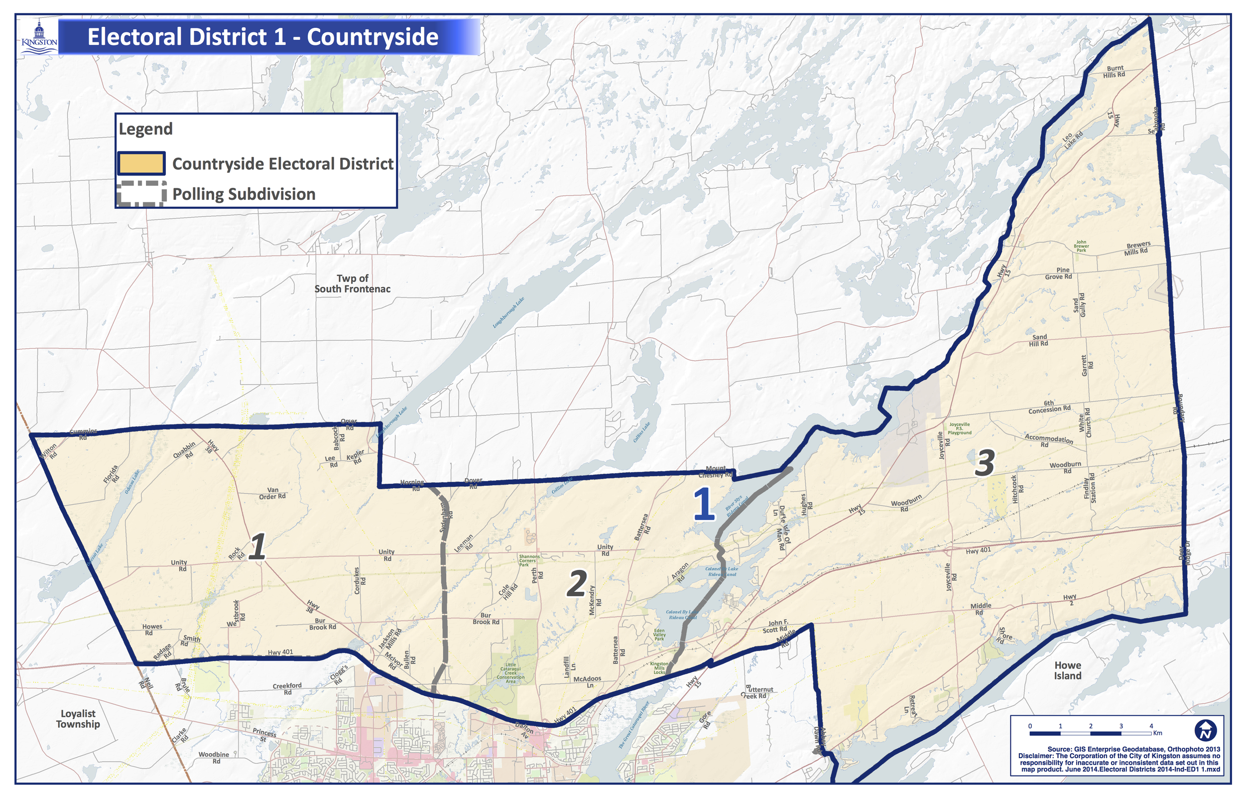 City of Kingston Map, showing polls for Electoral District 1 - Countryside.  Click map to enlarge.