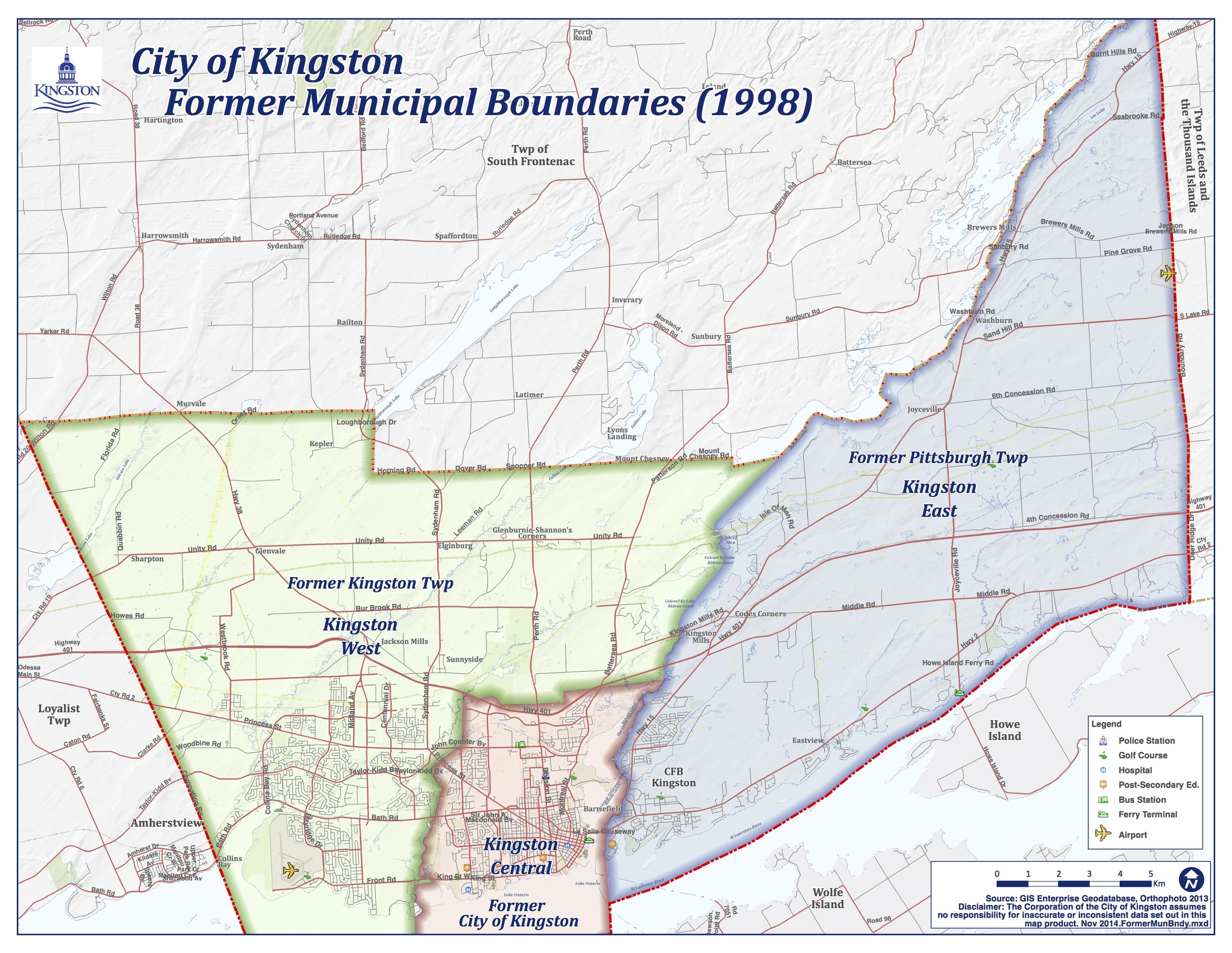 City of Kingston Former Municipal Boundaries. Courtesy of City of Kingston (www.cityofkingston.ca)