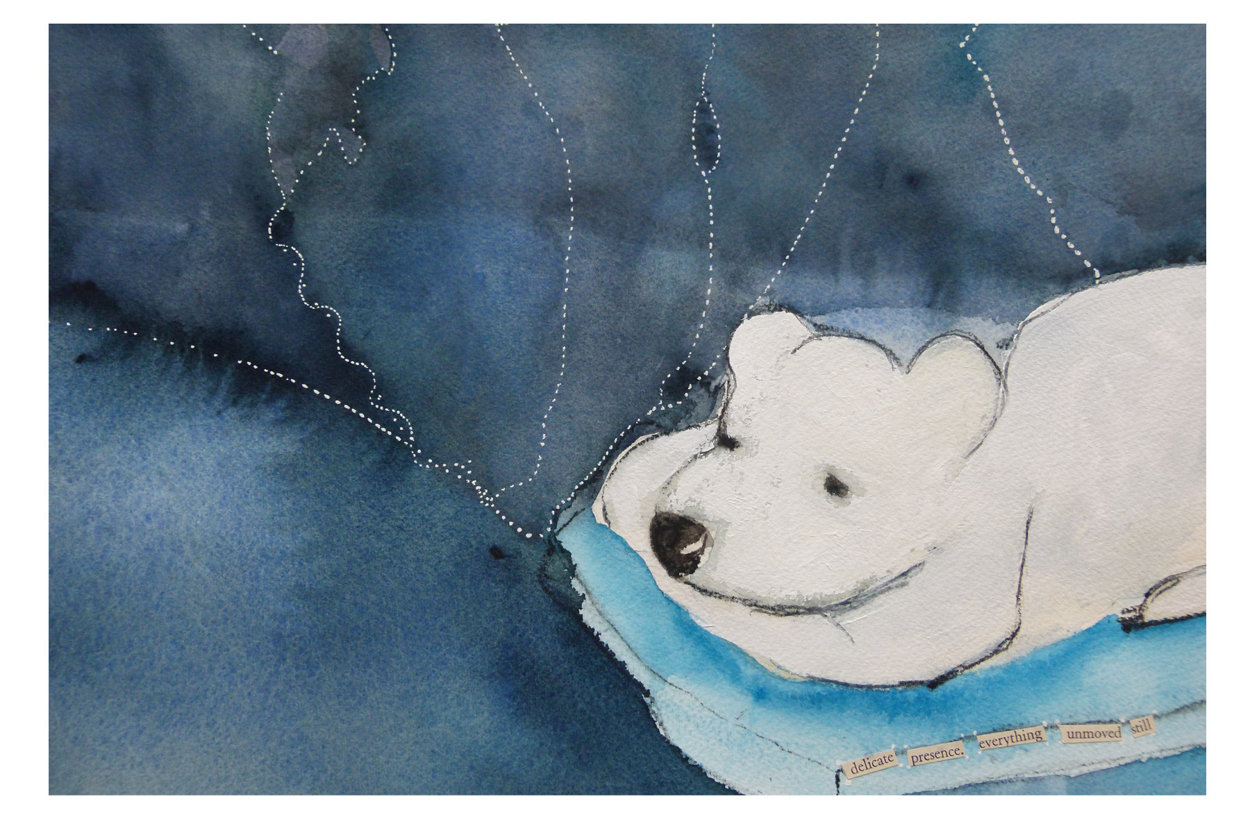Peaceful,  Watercolor and Mixed Media, 2013 (original in private collection)
