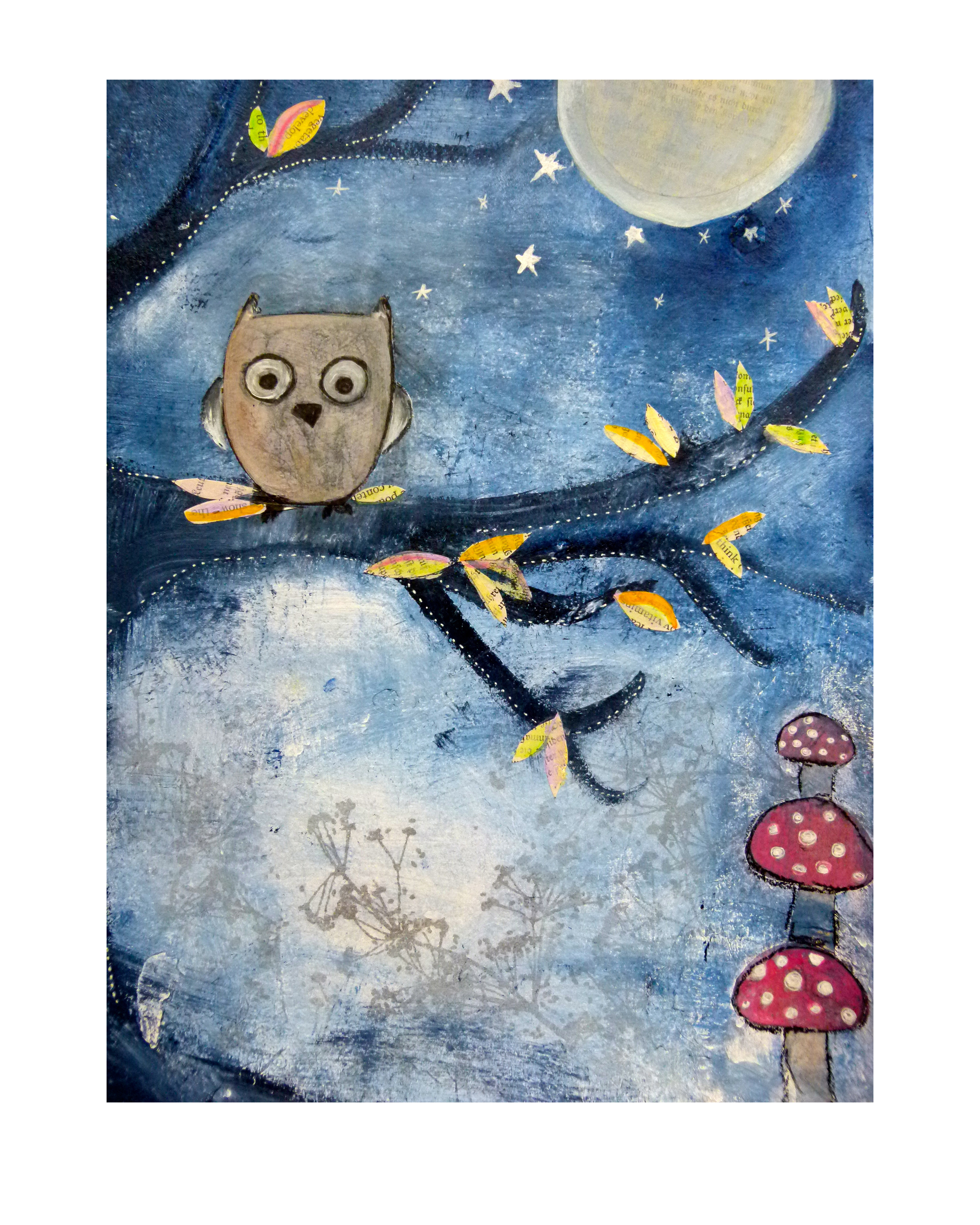 NIght Owl,  Mixed Media, 2012
