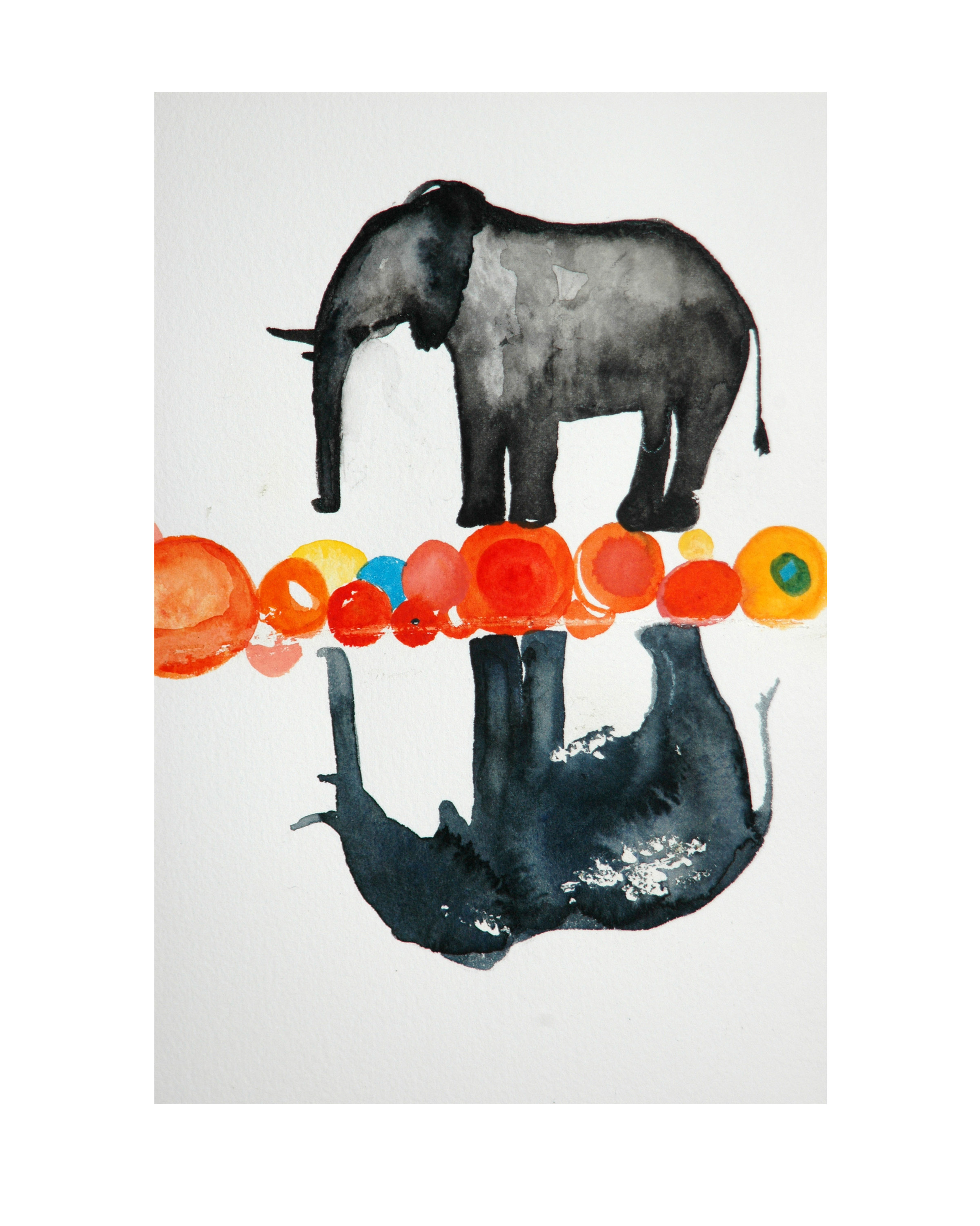 Elephant(s),  Watercolor, 2009  (original in private collection)