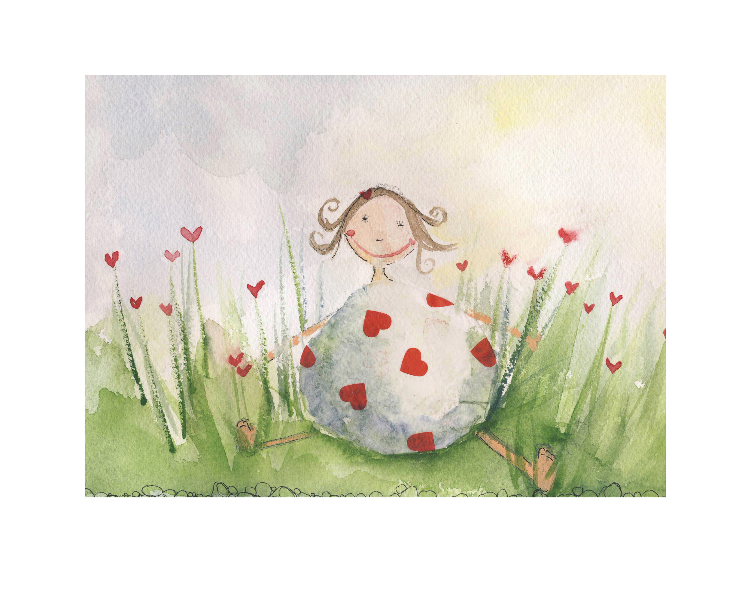 Little Miss Love, Watercolor and Collage, 2010