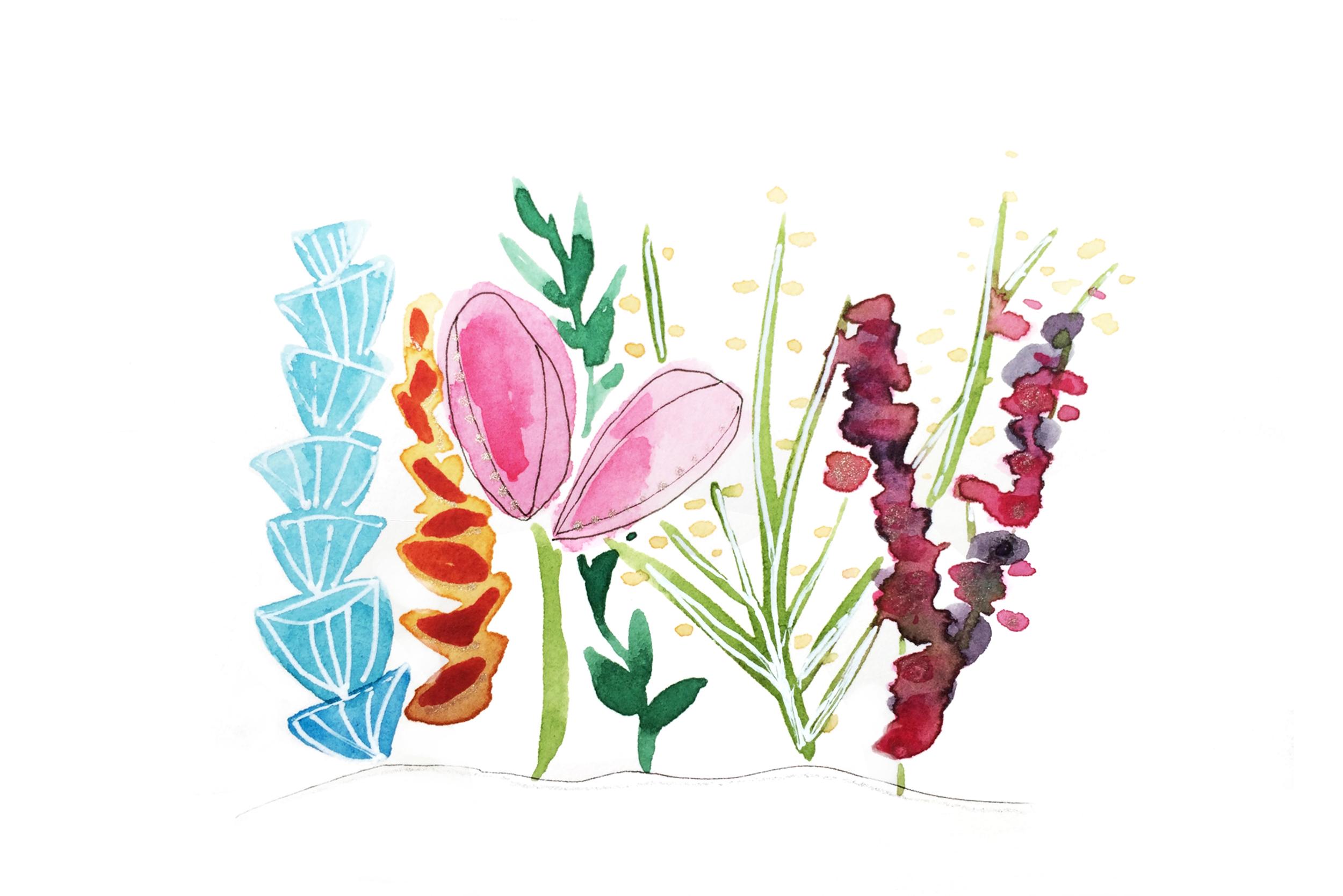 Glitter on Flowers, Watercolor, 2015