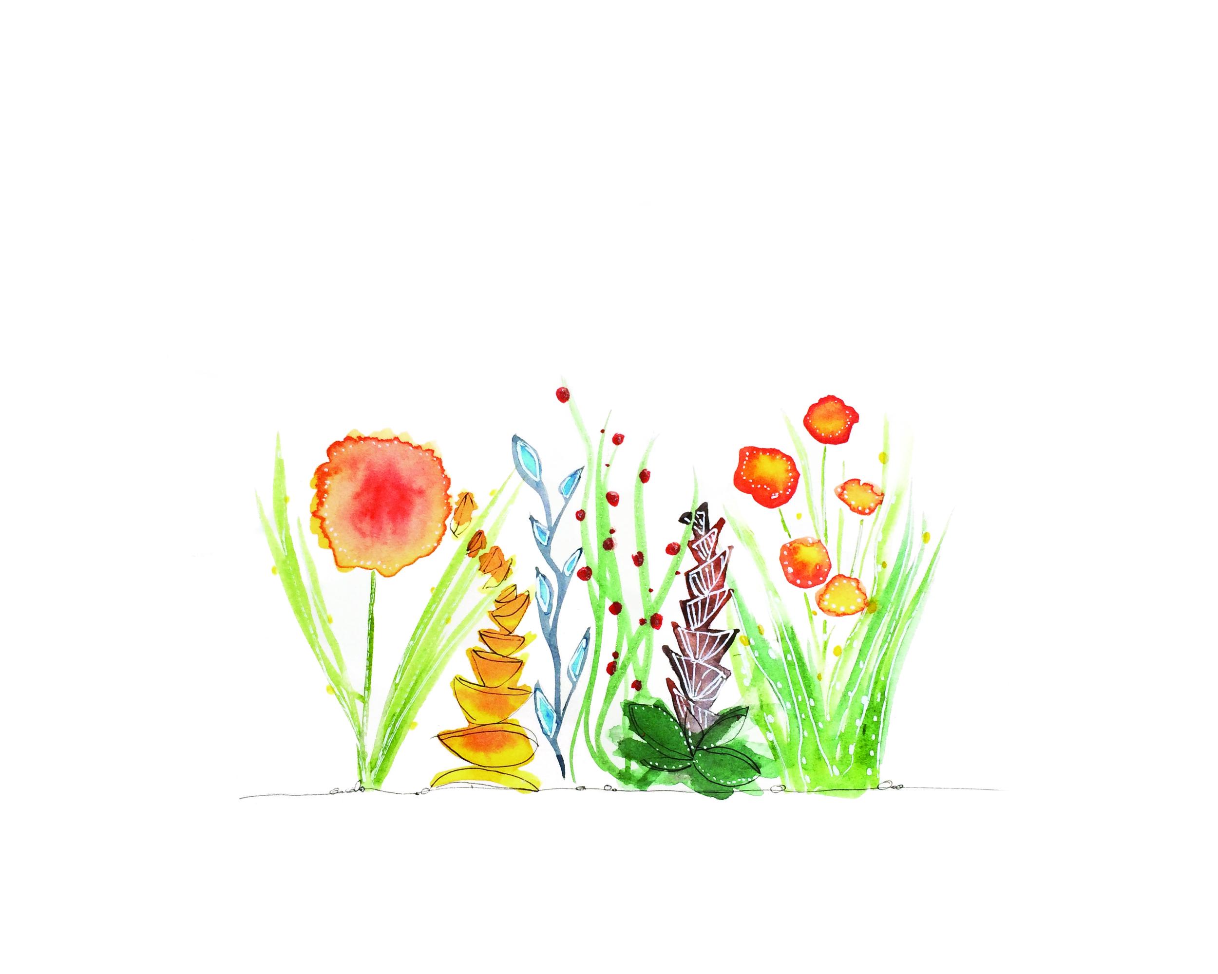 Orange Flowers, Watercolor, 2015