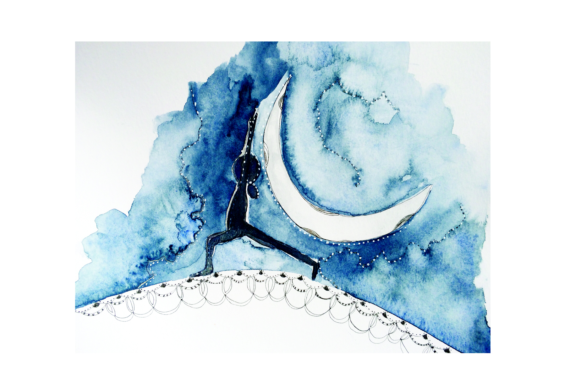 Crescent Moon, Watercolor and Ink, 2016