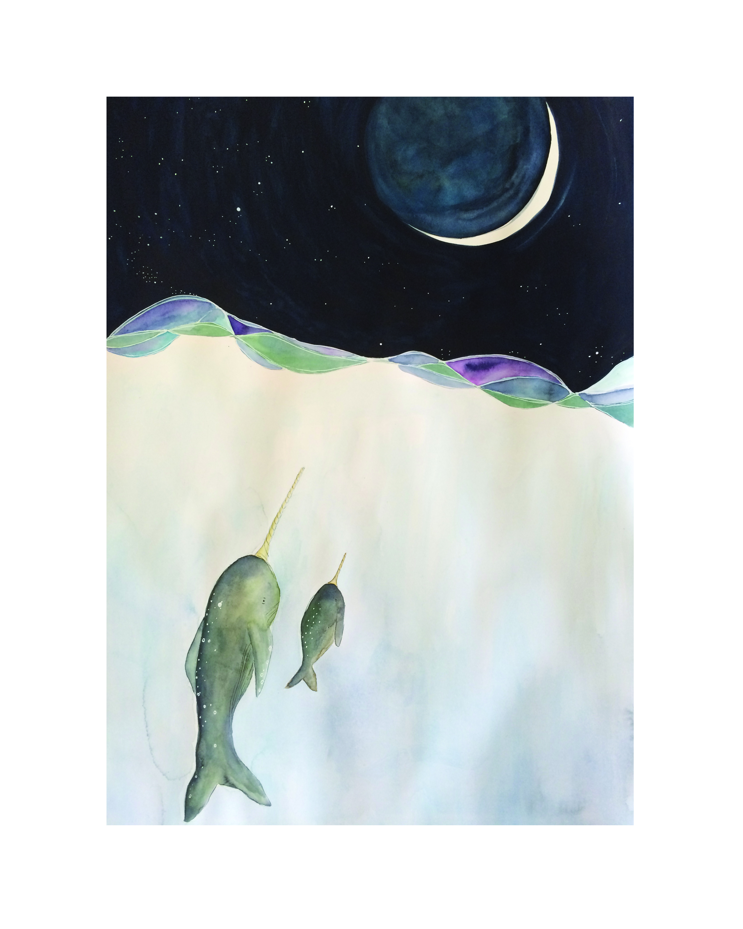 Narwhale Moon, Watercolor, 2016 (original in private collection)