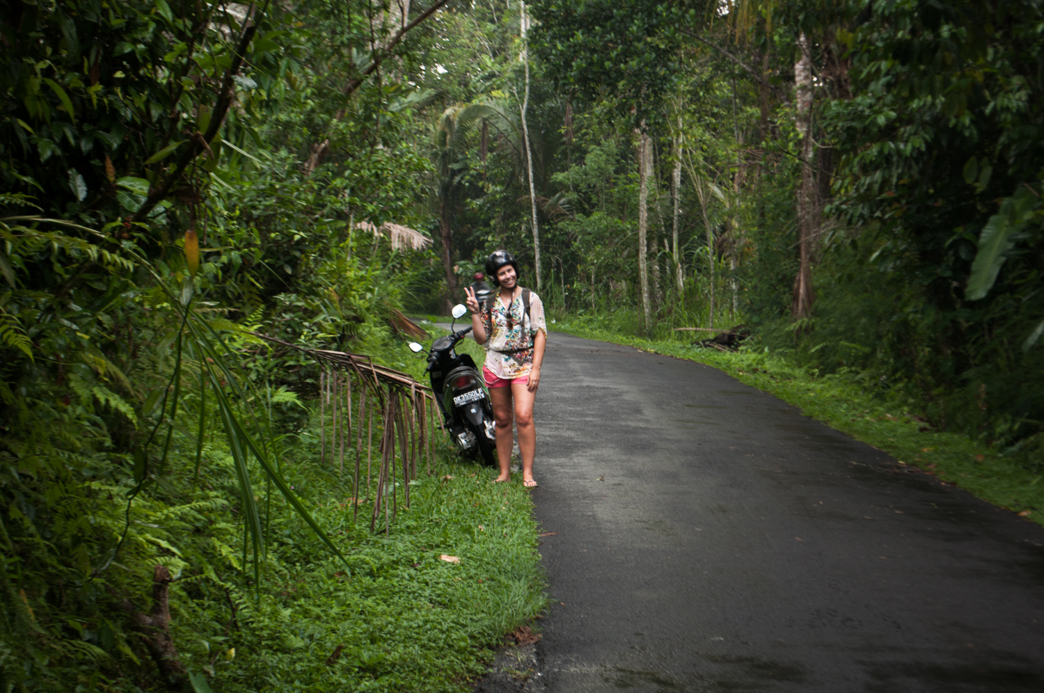Amanda with one of our many two-wheeled fire-birds - lost on Bali, Indonesia. November 2012