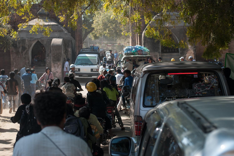 Foot & wheel traffic, Bagan, Myanmar. January 2013