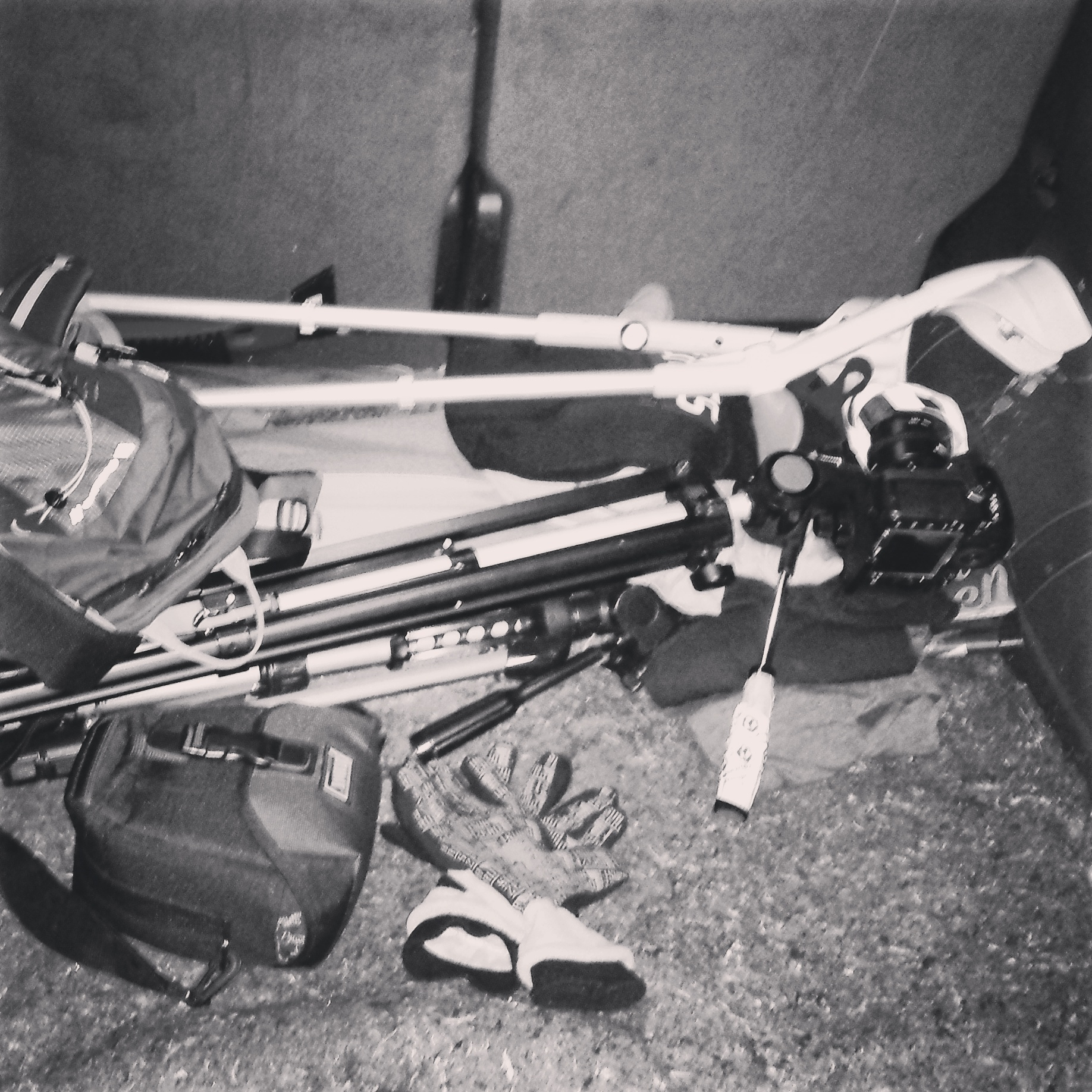"""Crutches and camera in car, while shooting a large portion of the series """"Schweizer Nachtlandschaften II"""""""