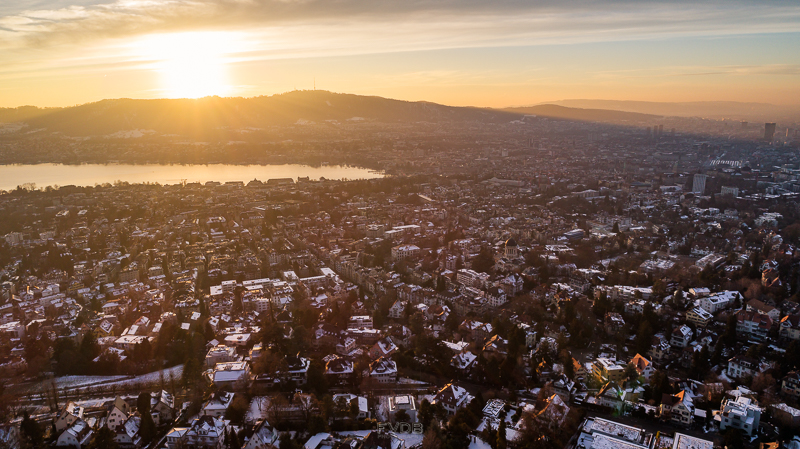 Aerial view of Zurich at sunset