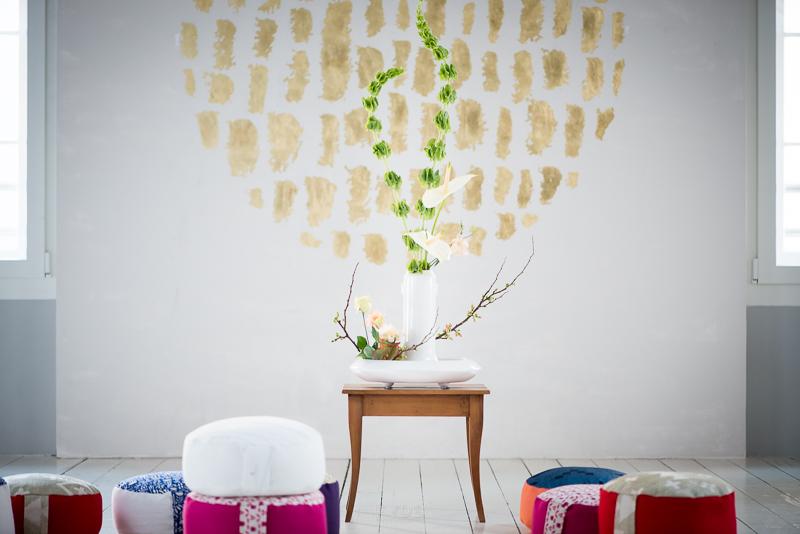 Ikebana flower arrangements were used to set the scene