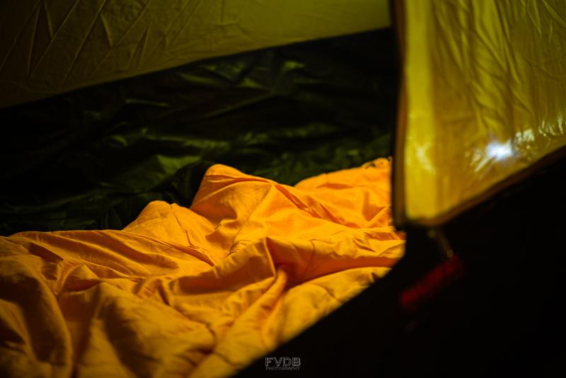 Sleeping bag and headlamp -camping essentials