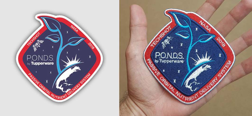 """NASA, as a thank you to the people who contribute to the ISS, leaves open a 4"""" cubed space per project payload to include patches. The patches are logged by an astronaut and, upon returning to earth, are certified whereby verifying their arrival & retrieval from the ISS."""