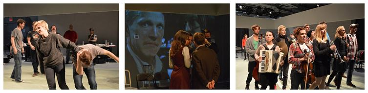 From L: Me & Terence Stone, Robert Honeywell onscreen, and the company. All photos by Edward Einhorn.