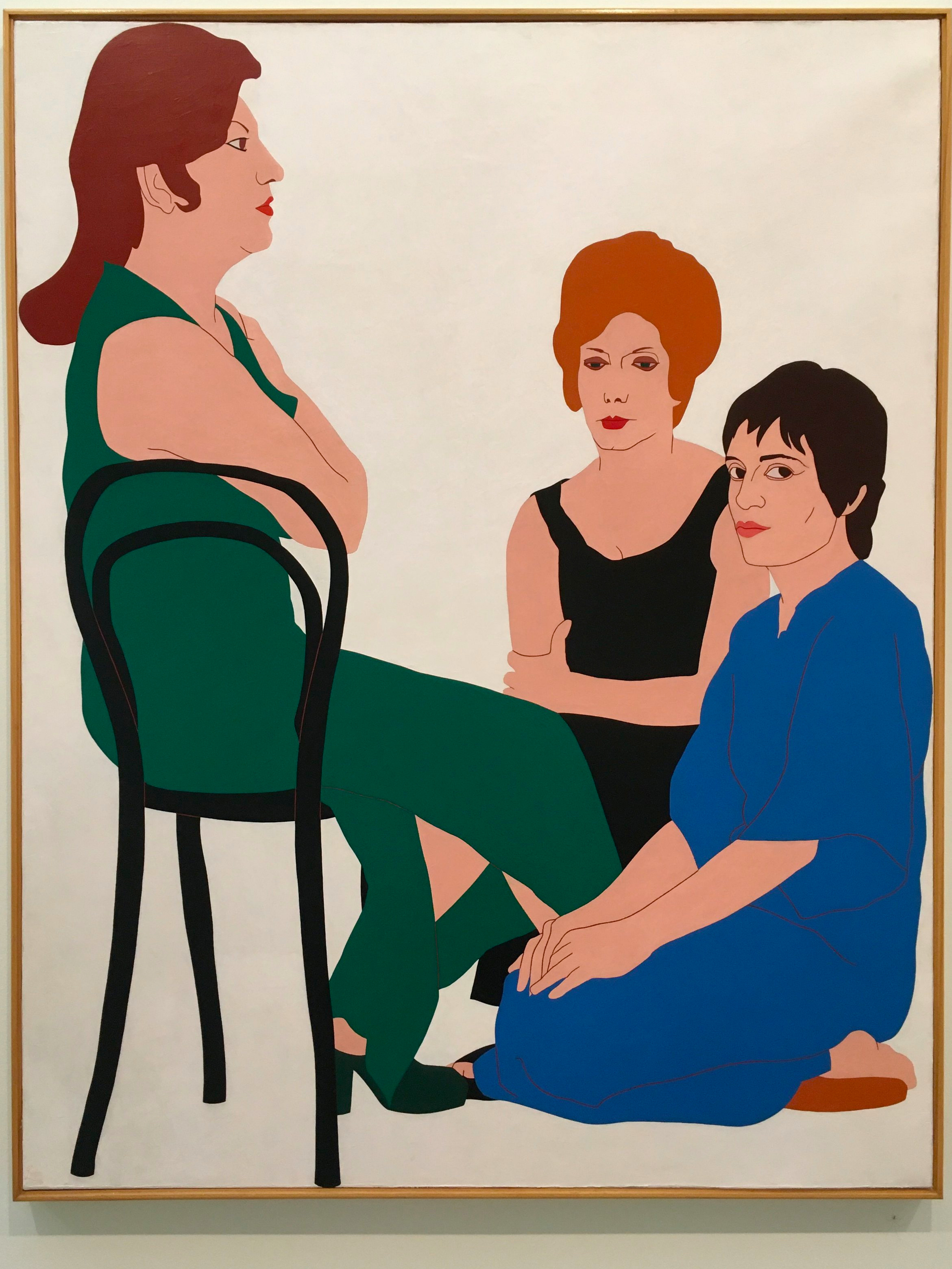 "Nikias Skapinakis' 1967 painting ""Encounter of Natália Correia with Fernanda Botelho and Maria João Pires"""