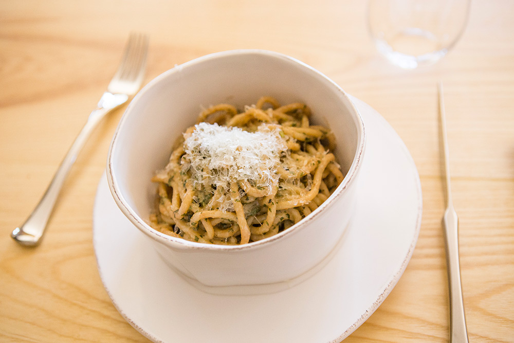 Eggless Spaghetti Etruscan Style with Mint Pesto and Pecorino.