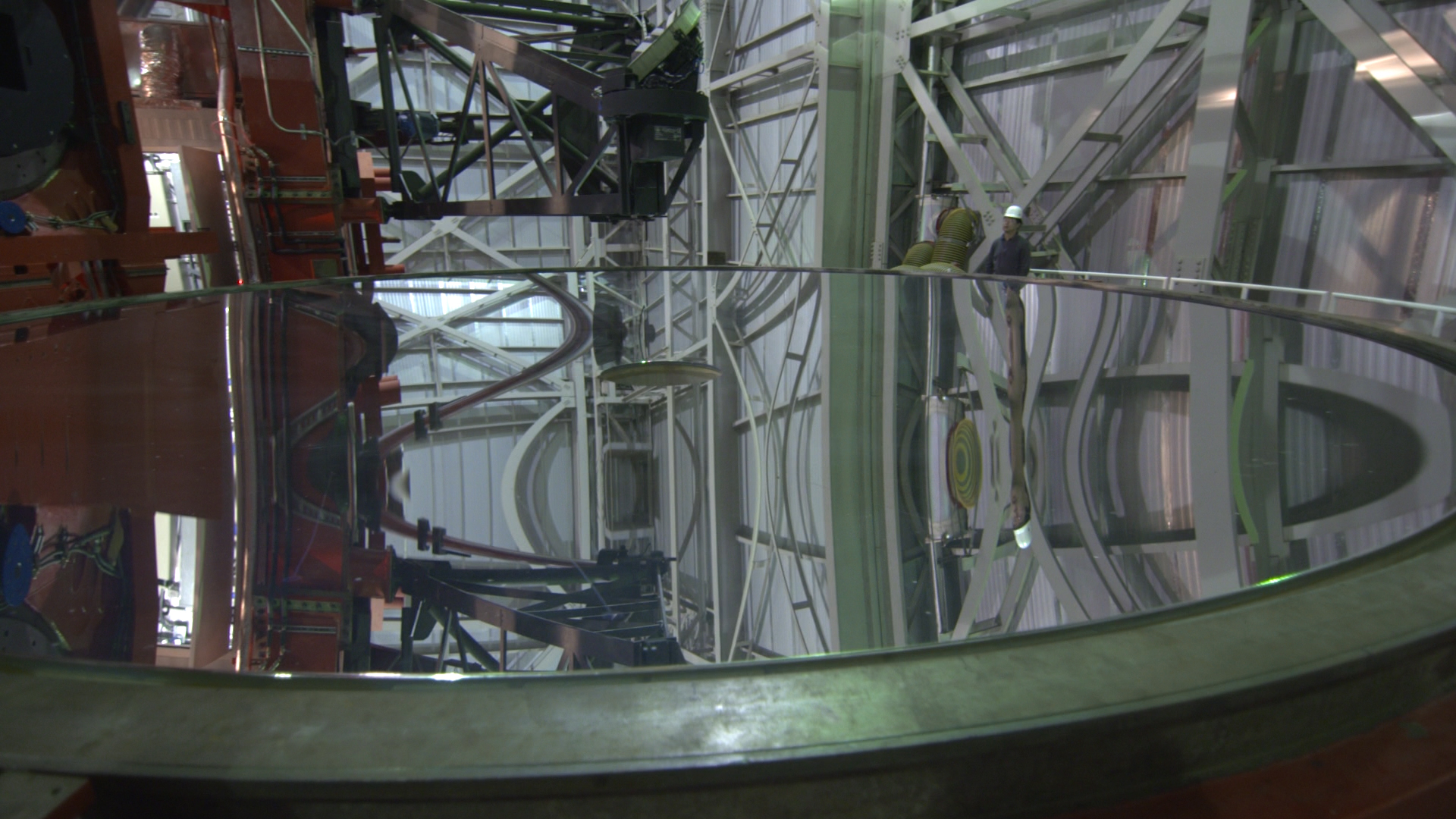 One of the two 8.4 meter (27 ft. diameter) mirrors of the LBT