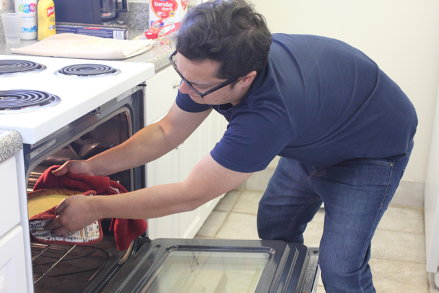Gary taking it out of the oven (I have no depth perception so I don't touch the inside of ovens)