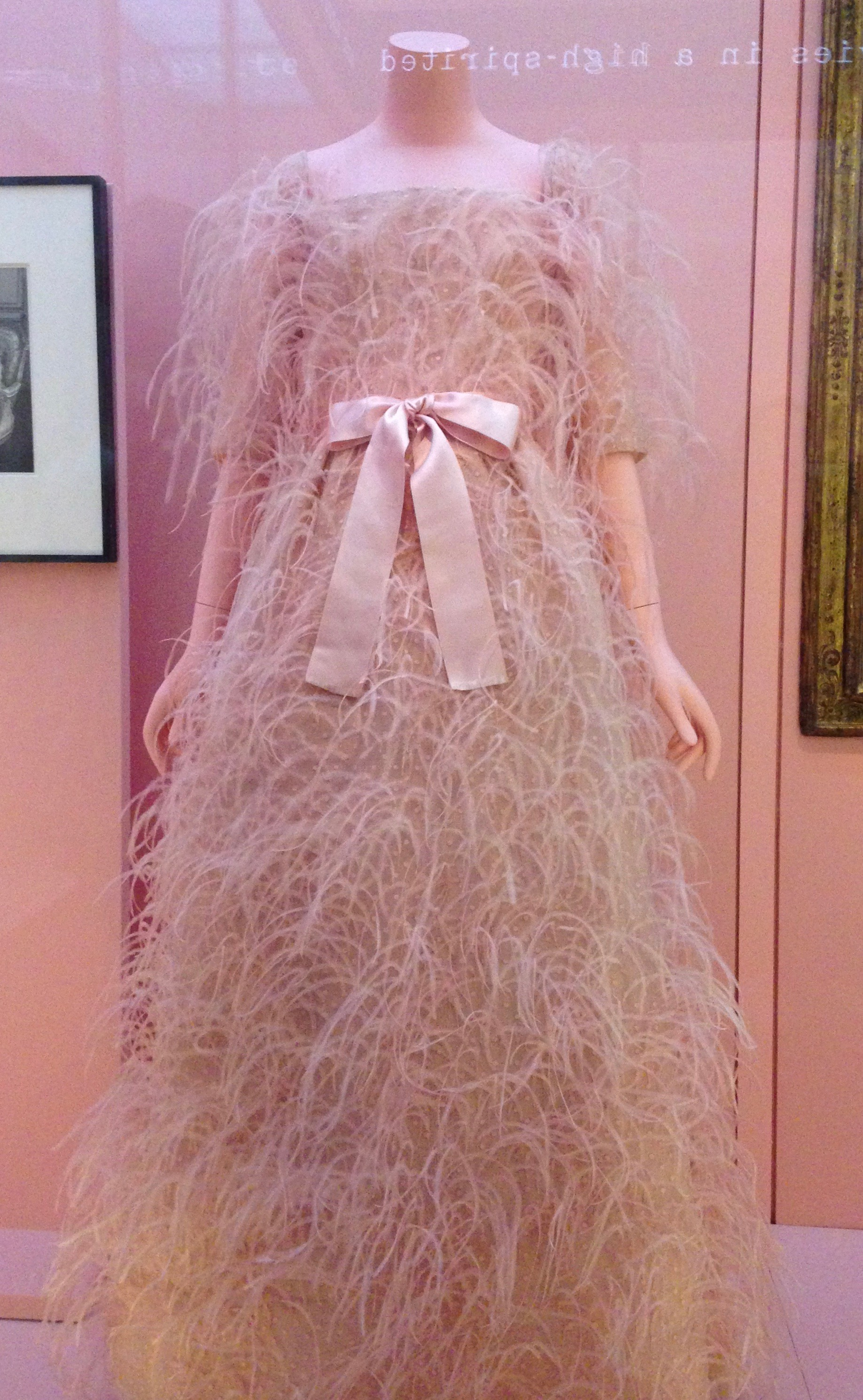 Cristobal Balenciaga, Evening Dress, autumn/winter 1965-66, dress of pink ostrich feathers and pink silk-thread dots; sash of pink silk satin