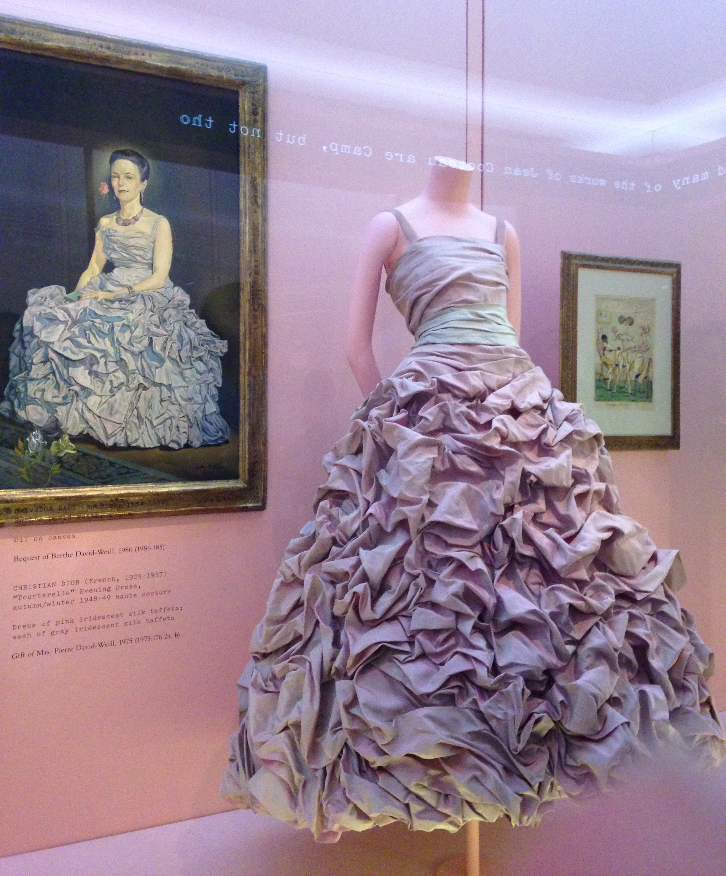 "Christian Dior, ""Tourterelle"" Evening Dress, autumn/winter 1948-49, dress of pink iridescent silk taffeta; sash of gray iridescent silk taffeta"