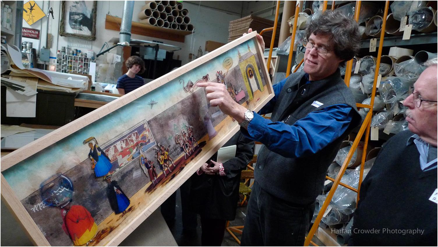 Donald Farnsworth, Printmaker, showing an artwork by Enrique Chagoya  ::  www.magnoliaeditions.com