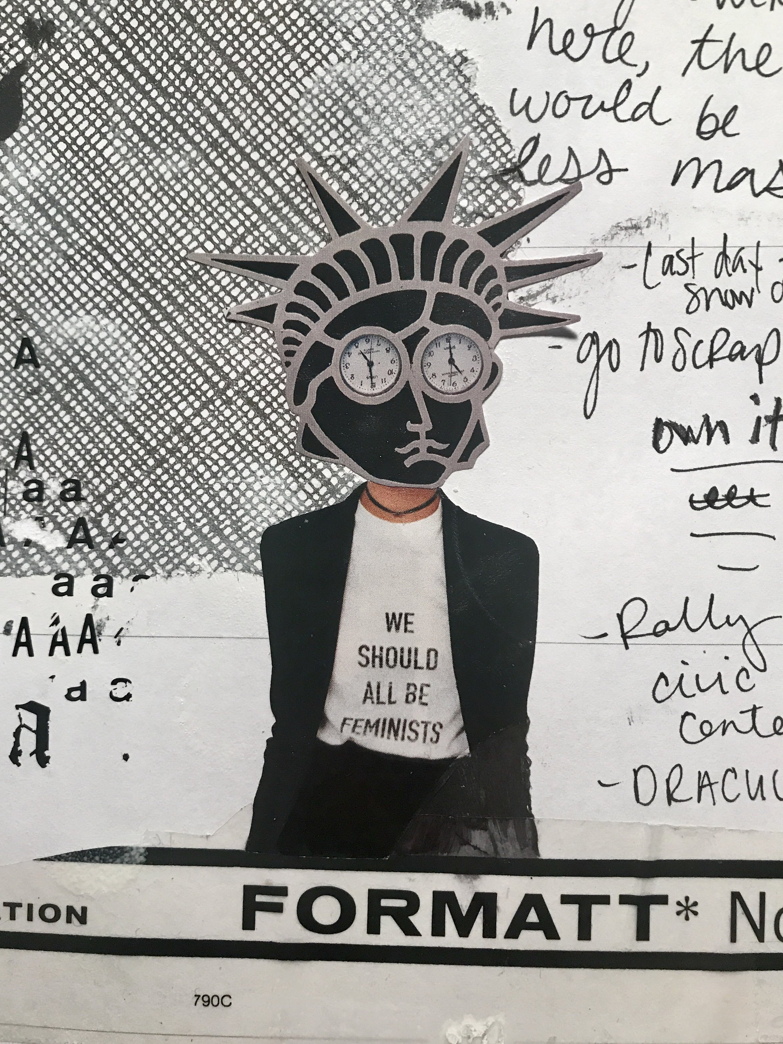 Feb 2017 journal page w vinyl transfer letters, envelop, magazine pics of a broach worn by Madeleine Albright and a Dior tshirt that costs 840-fucking-dollars WHY
