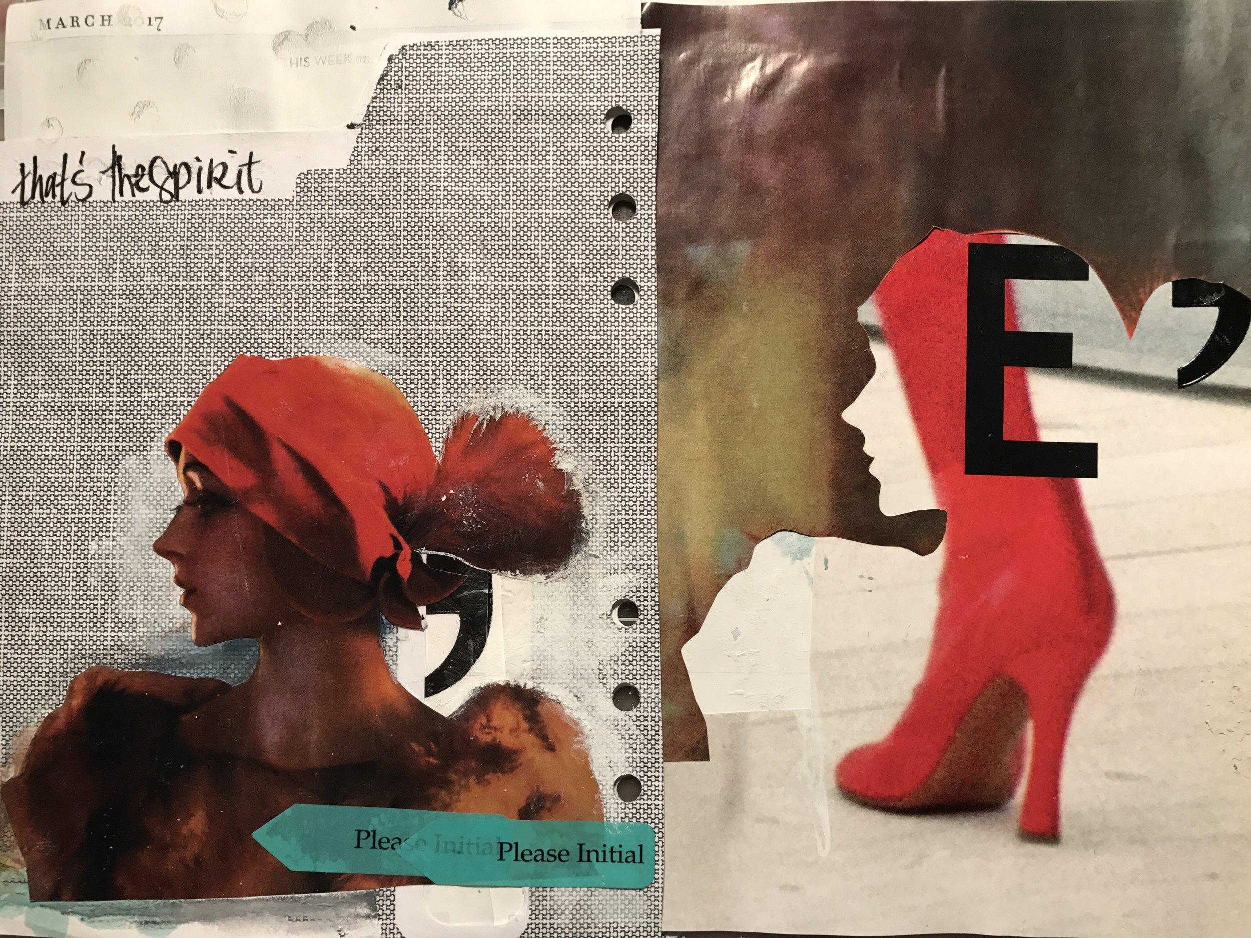 March 2017 journal page w the Dada spirit, envelop, vinyl stickers, magazine photos, ink, watercolor