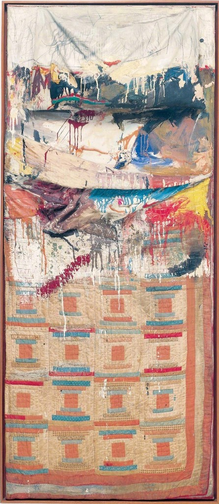 Robert Rauschenberg, Bed, 1955.Combine: oil and pencil on pillow, quilt, and sheet, mounted on wood support.