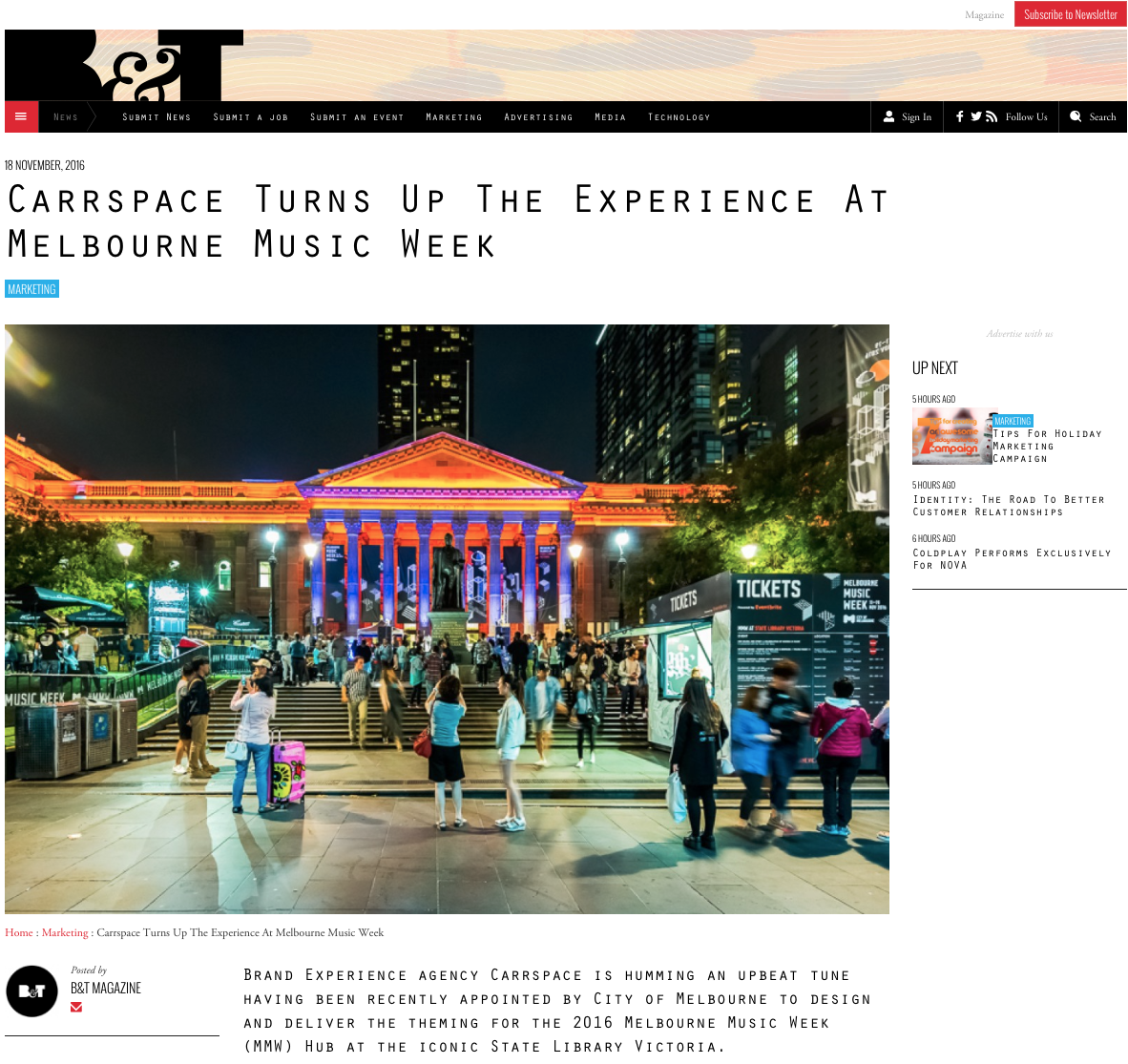 Brand Experience agency Carrspace working with Melbourne Music Week 2016