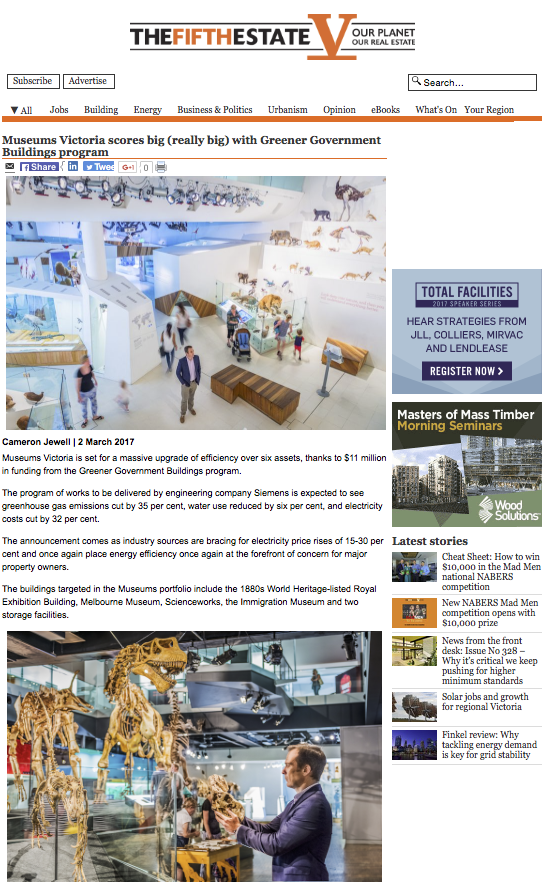 Siemens Ltd Upgrading the Museums Victoria Green Rating