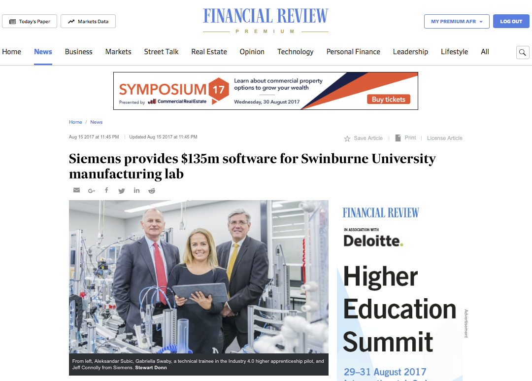 Siemens in the Australia Financial Review