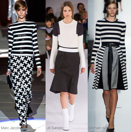 Black and white runway fashions.