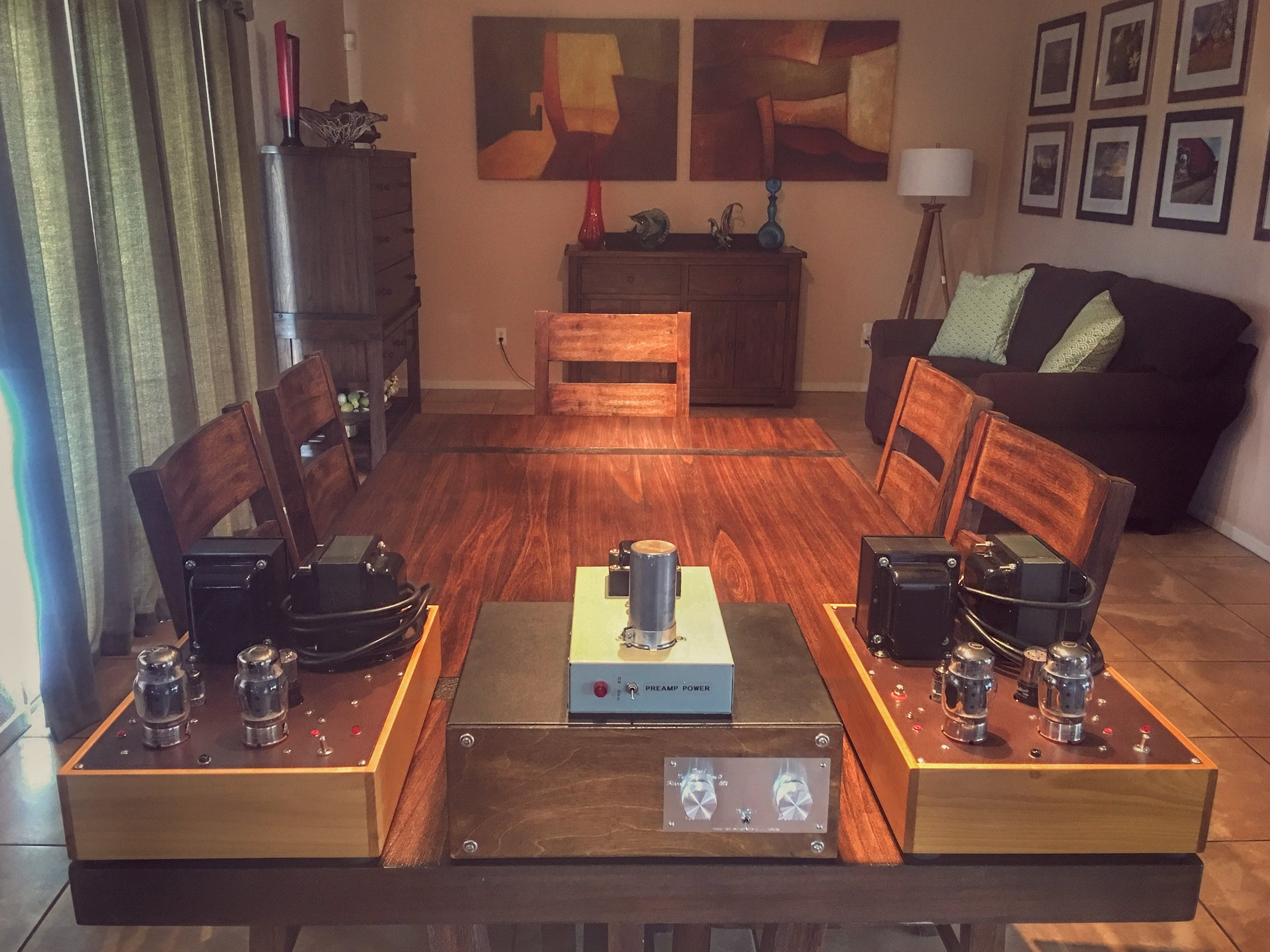 James Burgess triode monoblocks based on the classic Eico HF-89 running 6550's