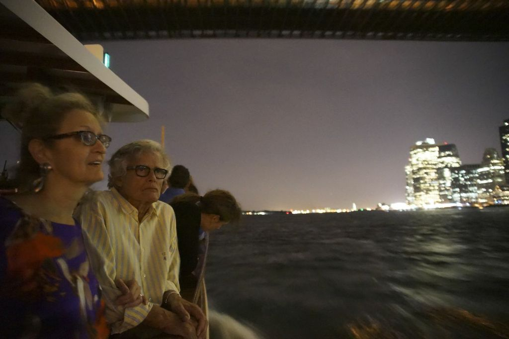 Bookkeeper Ada Biewald and husband Guenter looking at the lights.