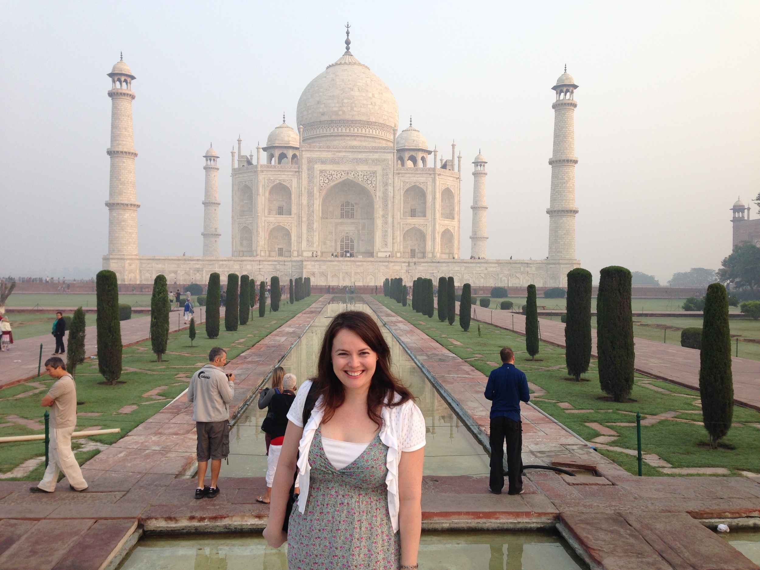 Attorney Liz Brettschneider takes a break from meetings with USCIS and State Department officials in India.