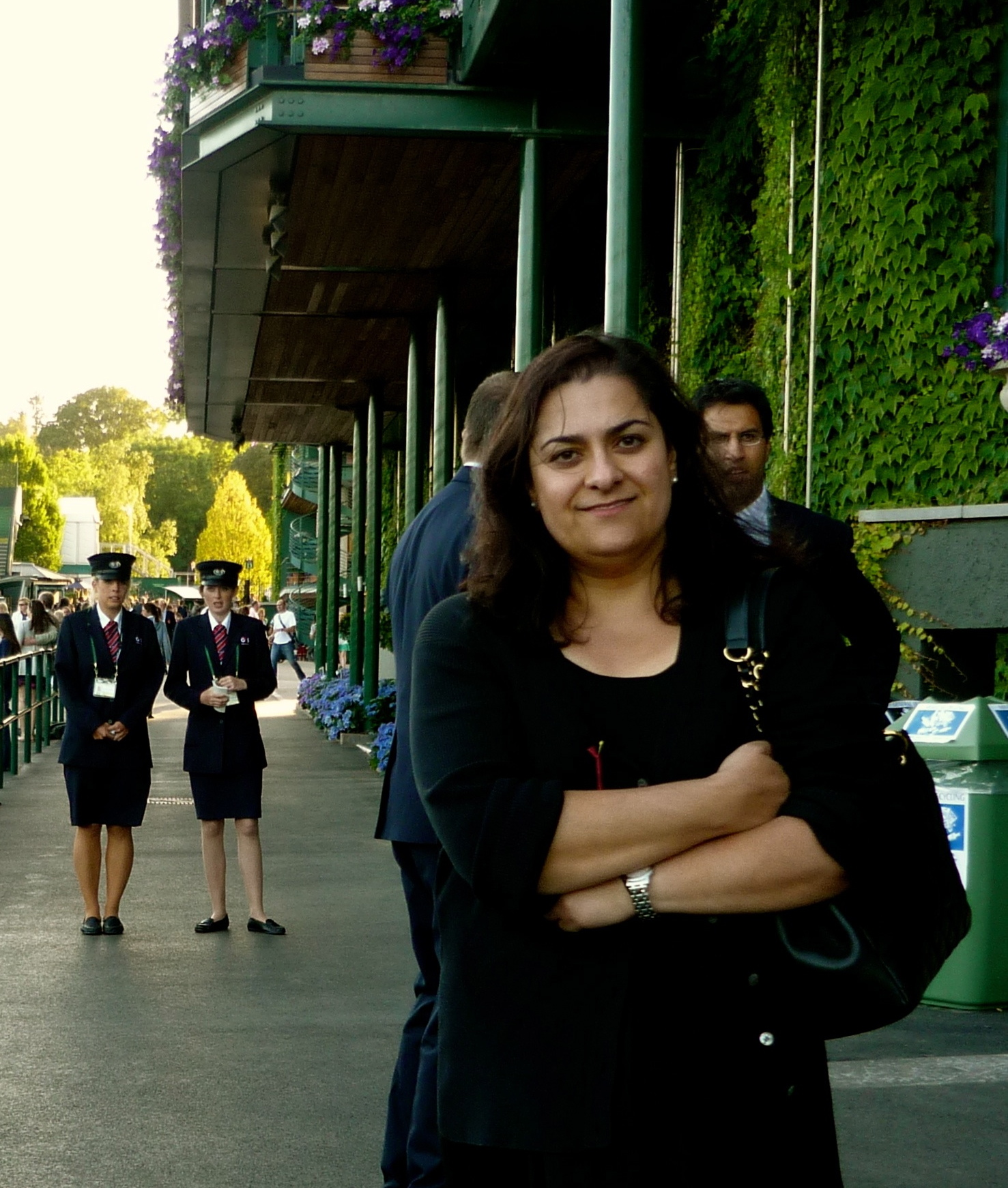 Protima at Wimbledon under the watchful eye of event staff.