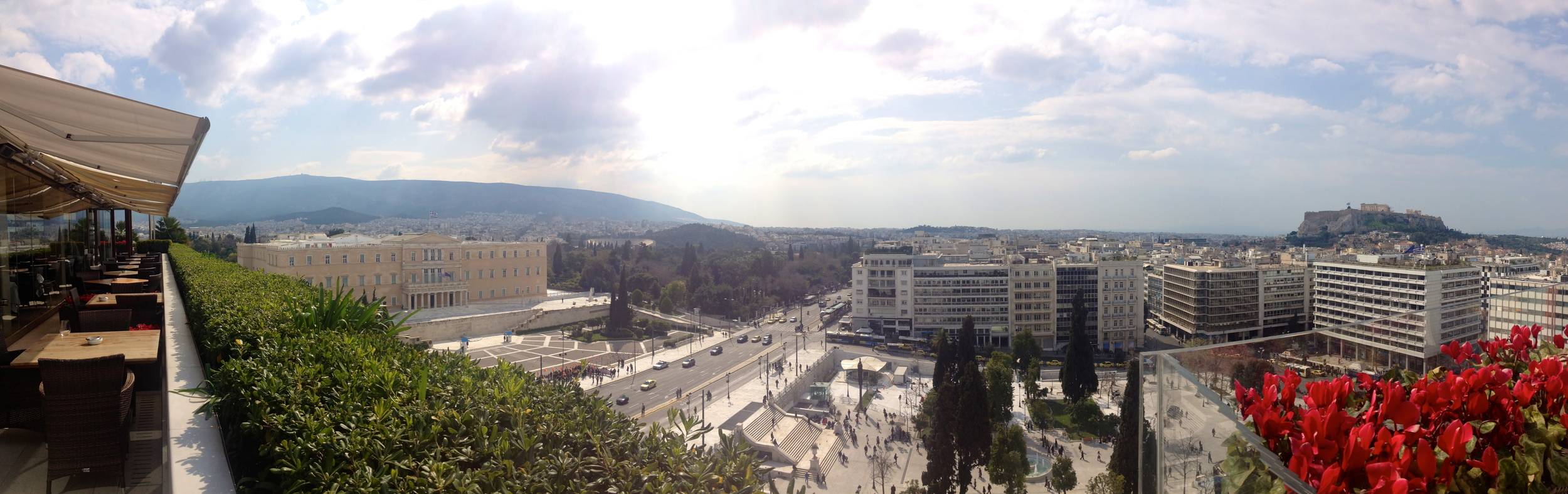 Athens and the Acropolis from our hotel rooftop.