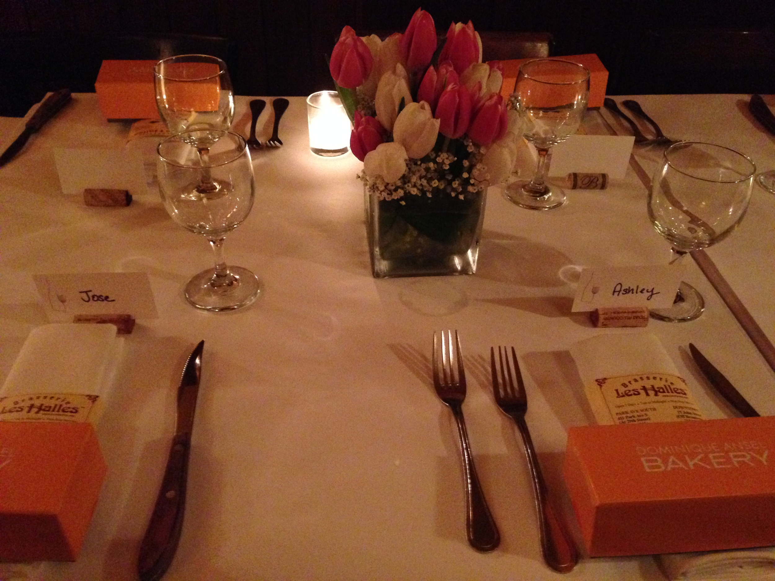 The firm celebrated  Ashley and Jose's recent wedding.  With macaroons and tulips! (And a little bit of wine).